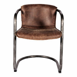 Moe's Home Industrial Benedict Grazed Brown Leather Dining Chair Pk-1048-03