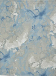 Nourison Symmetry 8and0396 X 11and0396 Light Blue And Ivory Area Rugs 099446495983