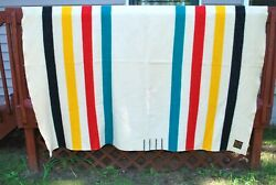 Vintage Eaton Trapper Point Brand All Wool Blanket Mid 1920and039s 66x86 Striped Nice