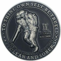 20 Year Veterans In Recovery Aa/na Sober Medallion - 40mm Fancy Coin/chip - Blac