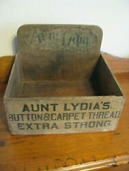 Vintage 1920and039sandnbsp Aunt Lydiaand039s Wood Thread Display Merchandise Box Button And Carpet