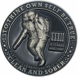 32 Year Veterans In Recovery Aa/na Sober Medallion - 40mm Fancy Coin/chip - Blac