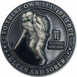 6 Year Veterans In Recovery Aa/na Sober Medallion - 40mm Fancy Coin/chip - Black