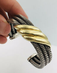David Yurman Sterling Silver And14k Yellow Gold 3 Link Cable Wave Cuff Bracelet