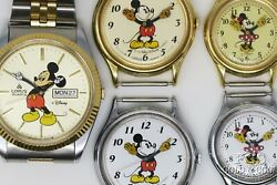 5 Vintage Lorus Mickey Mouse Disney Watches Minnie Mouse For Parts Repair 20237