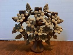 Vintage Mexican Clay Art Adam Eve Garden Of Eden Candle Holder Tree Of Life