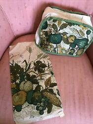 Vintage 60s Green And Gold Autumn Fruit Fallani And Cohn Linen Towel And Toaster Cover