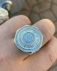 Menand039s Custom Iced Out Baguette Octagon Pinky Iced Hip Hop Ring Halloween Gift