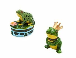 Frog Andfrog On Lily Pad Porcelain Hinged Trinket Boxes Set Of 2