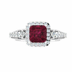 Round And Princess 1.92 Ct Real Diamond Wedding Ruby Rings 14k White Gold Size 5 6