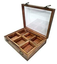 Handcrafted Wooden Spice Box Container 9 Spices Storage Boxes 1 Spoon Kitchen