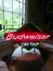 Vintage And Rare Budweiser On Tap Neon Sign Works Great