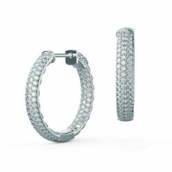 Round 1.00 Ct Diamond Earrings Style Solid 14k White Gold Accents Hoops Studs