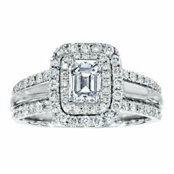 Christmas Gift 1.50 Ct Real Diamond Wedding Ring Solid 14k White Gold Size 6 7 8