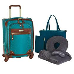 Samantha Brown Ombre Croco-embossed 22 Spinner With Essential Set 6pc Peacock
