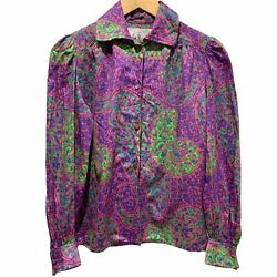 Vintage 70s Paisley Funky Shirt 100 Cotton Made In England John Neal Size 8