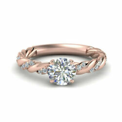 Round Cut 0.70 Ct Real Diamond Engagement Rings 14k Solid Rose Gold Size 5.5 6 7