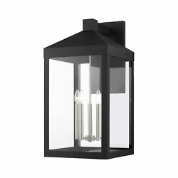 Livex Lighting Black With Brushed Nickel Cluster Outdoor Wall Lantern 20598-04
