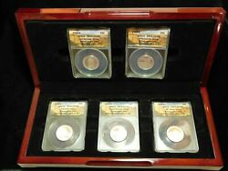 2010-s Anacs America The Beautiful Silver 5 Coin Set - Pr70 Dcam First Strike