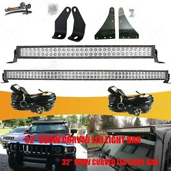 Fit 06-10 Hummer H3 Bumper 32and039and039+upper Roof 52and039and039 Curved Led Light Bar Bracket Kit