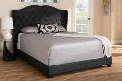 Baxton Studio Aden Charcoal Grey Fabric Upholstered Full Size Bed