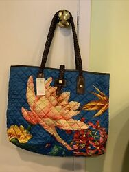 Brooks brothers beach tote bag with leather straps blue with flowers NWT $64.99