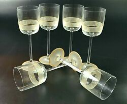Vintage - Set Of 6 Goebel Tall Wine/ Water Glasses - Gold Accent