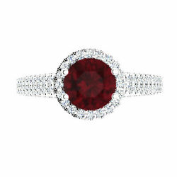 Valentine 1.57 Ct Real Diamond Engagement Ruby Ring 14k White Gold For Sale 5 6