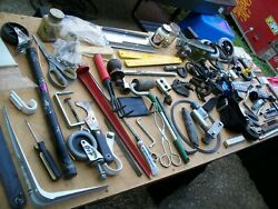 A Real Junk Drawer Lot Of 87 Pcs. Tools, Household Items, Knives, Hardware, Etc.