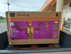 12 Ft Giant Inferno Pumpkin Skeleton W/lcd Eyes Rotten Patch Rare Tampa Areas