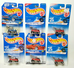 Hot Wheels Radio Flyer Wagon Red Blue 827 96 First Editions Variations Lot Of 6