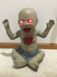 Animated Halloween Bloody Zombie Baby Sound Animated And Led Red Eyes Prop Used