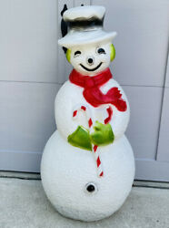 Vintage Union Products Lighted Blow Mold Dimpled Frosty Snowman Candy Cane