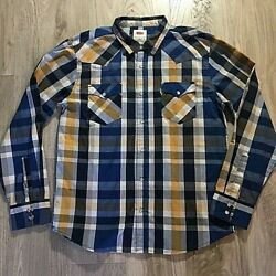 Levis Western Mens Large Plaid Pearl Snap Long Sleeve Button Up Shirt Blue White