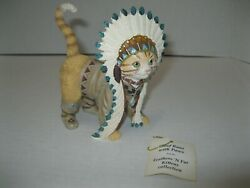 Hamilton Collection FEATHERS #x27;N FUR CAT FIGURINE 2016 Chief Runs with Paws