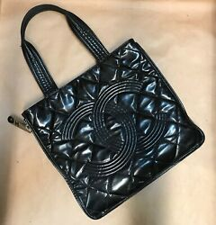 Patent Quilted Expandable Cc Shopping Tote Black ++heavily Worn++