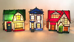 Vintage Christmas Stained Glass Village Holiday Creations Lighted Holiday Set/3