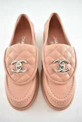 21b Pink Silver Quilted Flap Turnlock Cc Logo Mule Slip Flat Loafer 38.5