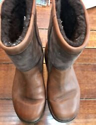 Ugg Beacon Obsidian Brown Leather Boots Shearling Lined Mens Size 9 5485