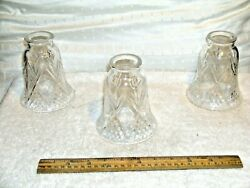 Chandelier Bulb Glass Shields Set Of Three In Nice Condition See Picture