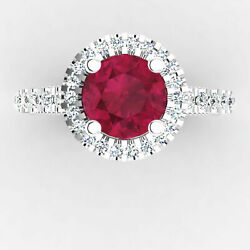 Beautiful 1.25 Ct Natural Diamond Ruby For Engagement 14k White Gold Size 7 8 9