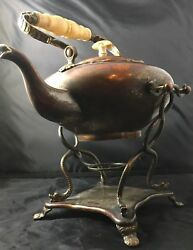 Teapot Silver Carved Handle Boho Moroccan Stream Punk Genie Lamp