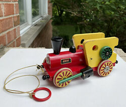 Wow Brio Vintage Wooden Pull Toy 1950's Noise Maker Train Engine Rare 50s Toys