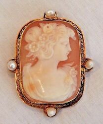Antique 14k Yellow Gold Shell Cameo With Four Pearls Pendant Or Pin Brooch