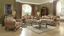 Acme Ragenardus Sofa With 5 Pillows In Fabric And Vintage Oak Finish 56030