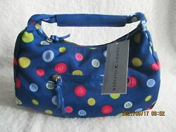 Tommy Hilfiger Top amp; Side Zip Hobo Blue Fabric Handbag 2002 New with Tag $19.99