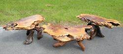 Live Edge Burl Wood Coffee Table And 2 End Tables Set Beautiful Vintage Furniture