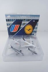 Rare Herpa Wings 1500 Lufthansa United Airlines 4 Piece Set Diecast Model Plane