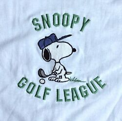 Vtg 1999 Too Cute Peanuts Snoopy Golf Embroidered T-shirt White Adult Med Nwot