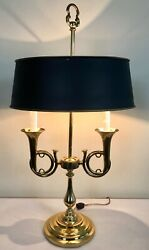 Vintage Brass French Bouillotte 2-arm Horn Trumpet Table Lamp Tole Shade 30